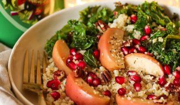 Warm Apple Kale and Bulgar Wheat Salad