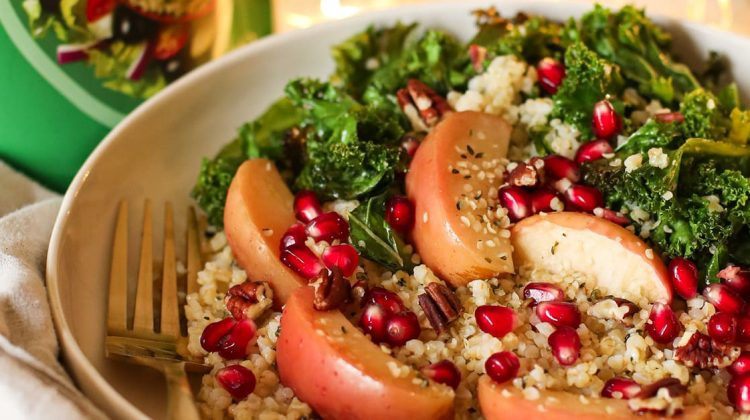 Warm Apple Kale and Bulgar Wheat Salad