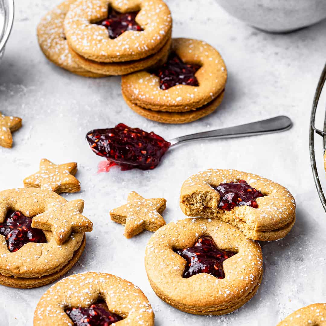 Peanut Butter Nutty Linzer Cookies by Peachy Palate