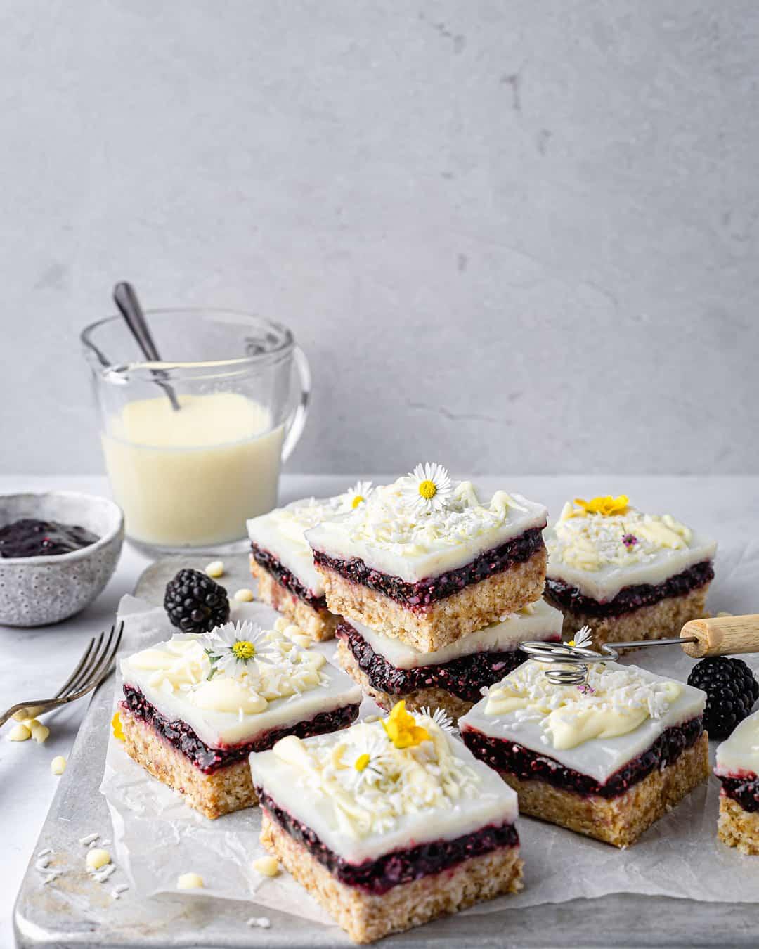 Lemon Blackberry Coconut Squares by @peachypalate
