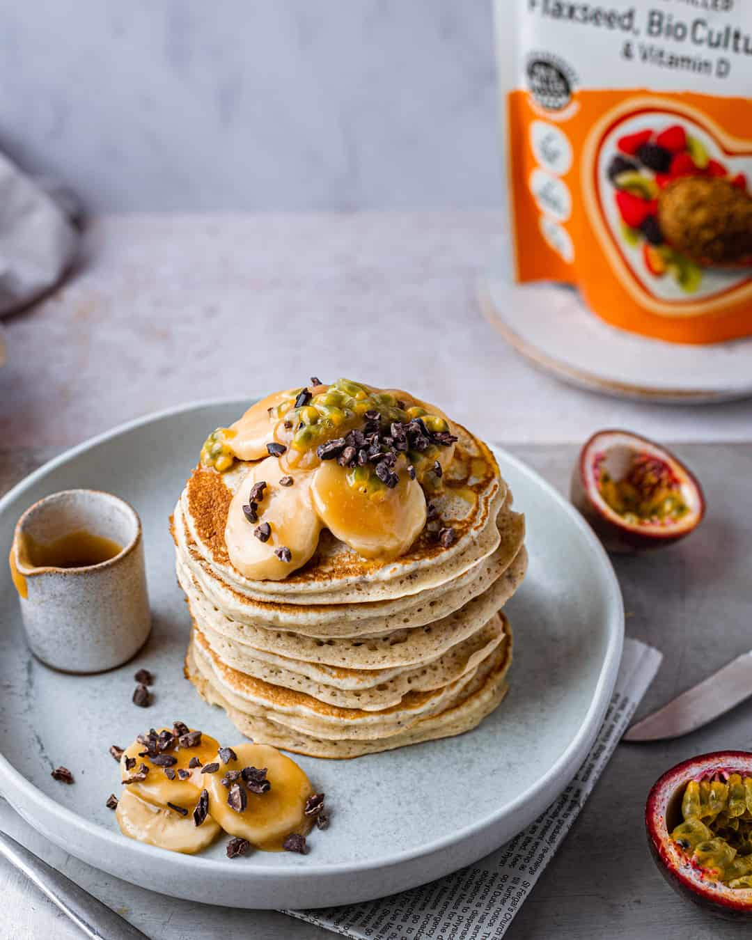 Banana Spelt Flour Flax Pancakes by @peachypalate