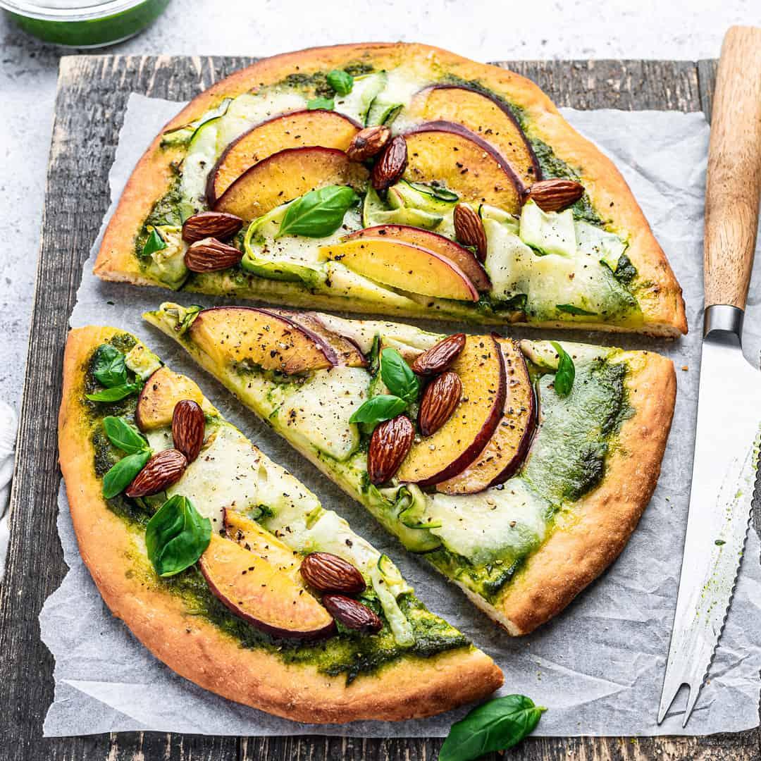 Peach Pesto Pizza by @peachypalate