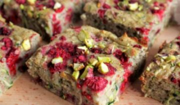 Raspberry, courgette & pistachio slice
