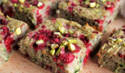 raspberry courgette & pistachio slice