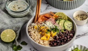 Mango Blackbean Rice Bowl with Cilantro Hemp Cream