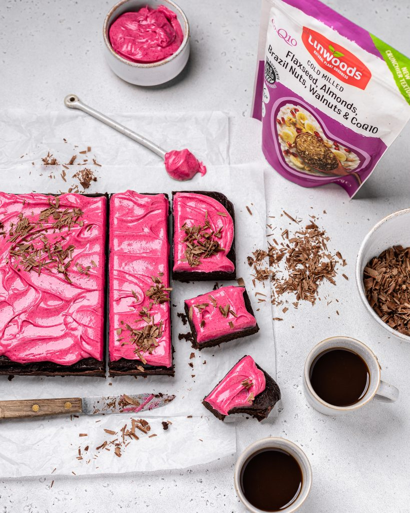 Vegan Brownies with Pink Icing