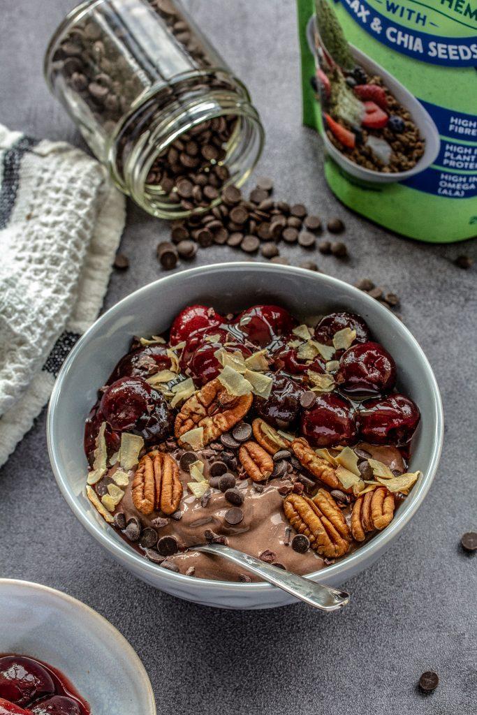 Chocolate Cherry Vegan Yogurt Bowl