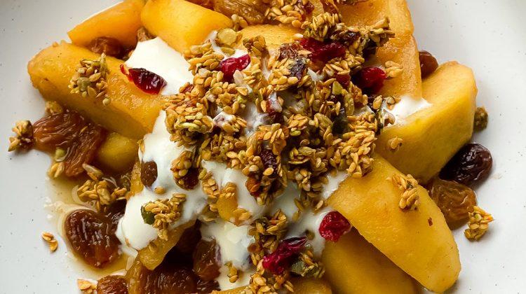 Seasonal Stewed Fruit and Soya Yoghurt