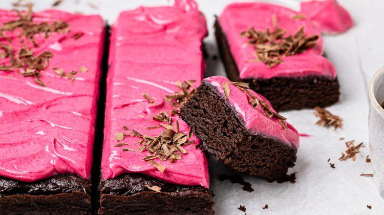 Vegan Brownies with Pink Icing